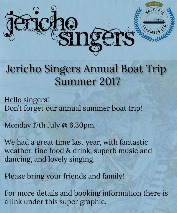 Jericho Singers Annual Boat Trip 2017