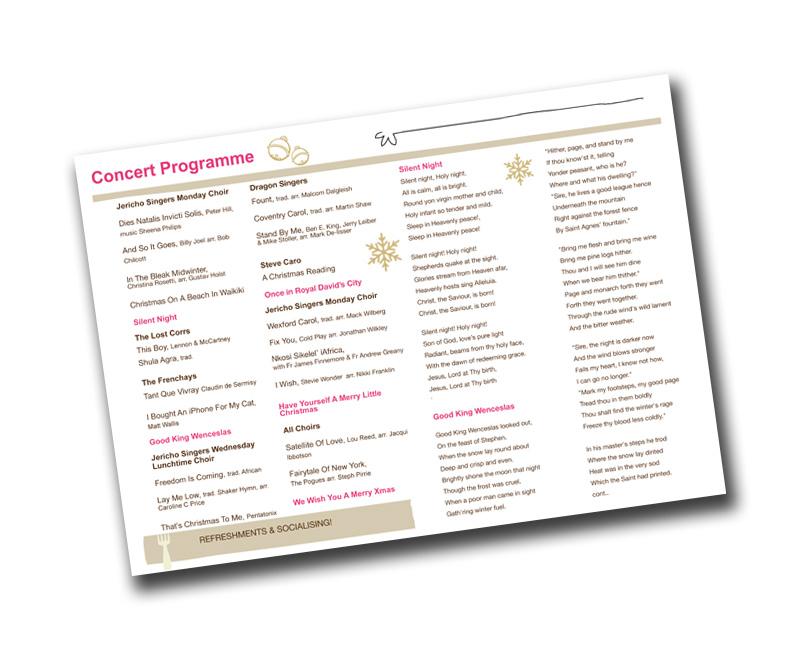 Christmas Concerts Near Me.Christmas Concert Programme Jericho Singers